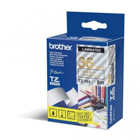 Brother TZ-164 originální páska do tiskárny štítků, zlatý tisk/průsvitný podklad, laminovaná, 8m, 36mm