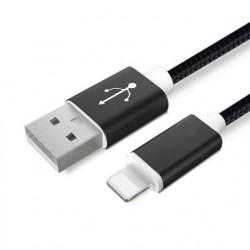 Datový a napájecí kabel iPhone Lightning / USB - měď, nylon, Barva: Černá, Délka: 3m