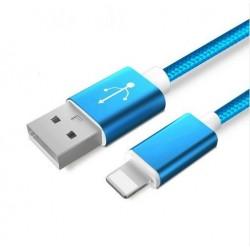 Datový a napájecí kabel iPhone Lightning / USB - měď, nylon, Barva: Modrá, Délka: 1m