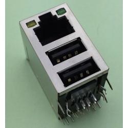 G40 USB + RJ45 Ethernet Cable Female Socket konektor + 2 LED