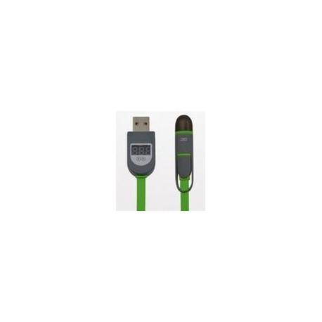 2 in 1 USB cable with LCD display, iPhone Lightning and Micro USB, 1m, black+green