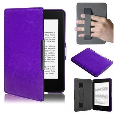 Kindle Paperwhite - purple holster reader of books - Magnetic - PU leather - an ultra-thin hard cover