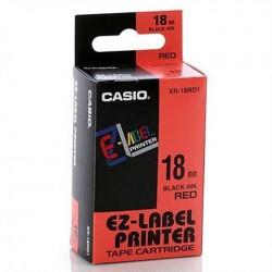 Casio XR-18RD1 originální páska do tiskárny štítků, černý tisk/červený podklad, nelaminovaná, 8m, 18mm