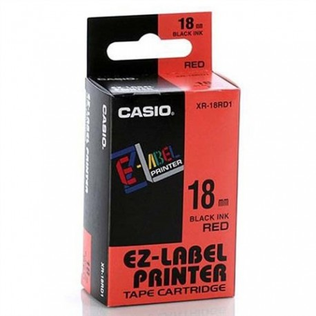 Casio original tape to the label printer Casio, XR-18RD1, print black / red background, laminated, 8m, 18 mm
