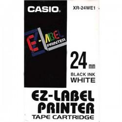 Casio XR-24WE1 originální páska do tiskárny štítků, černý tisk/bílý podklad, 24mm