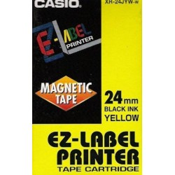 Casio XR-24JYW-w originální páska do tiskárny štítků, žlutý podklad / černé písmo, 24mm
