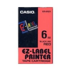 CASIO KR-6RD1. Červený podklad / čierne písmo, 6mm - originálna páska do tlačiarne štítkov