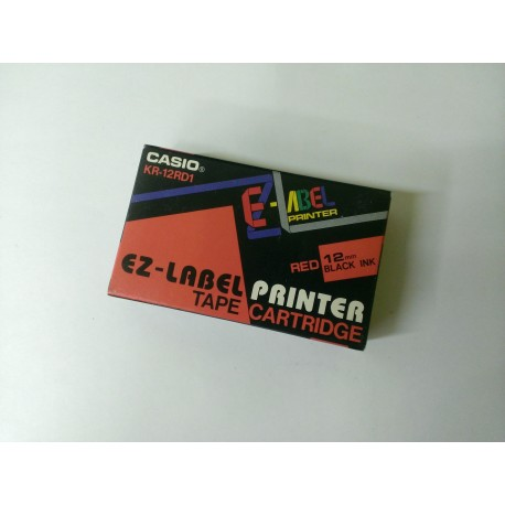 CASIO KR-12RD1. Red background / black lettering, 12 mm - the original tape to label printers