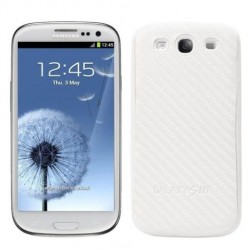 Samsung Galaxy S3 i9300 Neo i9305 9301 - plastic rear battery cover - white (pattern - carbon fiber)