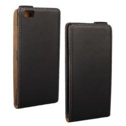 Huawei P8 Lite - Černé kožené pouzdro