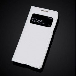 Kožený flip S-View Auto Sleep pro Samsung Galaxy S4 Mini i9190 i9192 i9195 - Kožený flip S-View Auto Sleep pro Samsung Galaxy S4 Mini i9190 i9192 i9195, Barva: Bílá