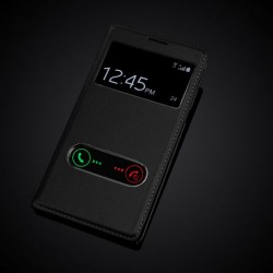 Samsung Galaxy Note 2 N7100 N7108 Skórzany pokrowiec Slim-Flip S-View PU - czarny