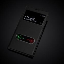 Samsung Galaxy Note 2 N7100 N7108 tenké flipové S-View pouzdro z PU kůže - černé