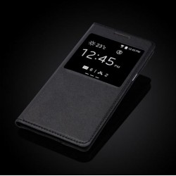 Samsung Galaxy Grand Prime G530 G530F G530H tenké flipové S-View pouzdro z PU kůže - černé