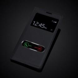Samsung Galaxy S3 i9300, S3 Neo i9300i tenké flipové S-View pouzdro z PU kůže - černé - Samsun