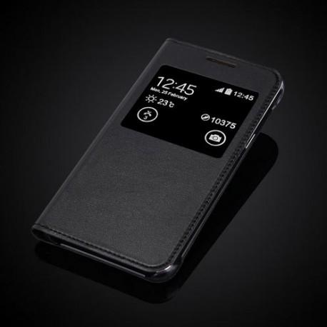 """Samsung Galaxy J1 J120F J120 (2016) 4.5"""" Slim Flip S-View PU Leather Case - Black"""