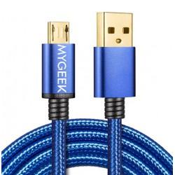 MyGeek dátový a napájací kábel micro USB, 1m - modrý nylon