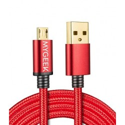 MyGeek data cable and micro USB cable, 1m - red nylon