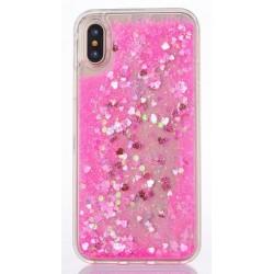 Apple iPhone X - Přesýpací silikonový zadní kryt telefonu - růžový