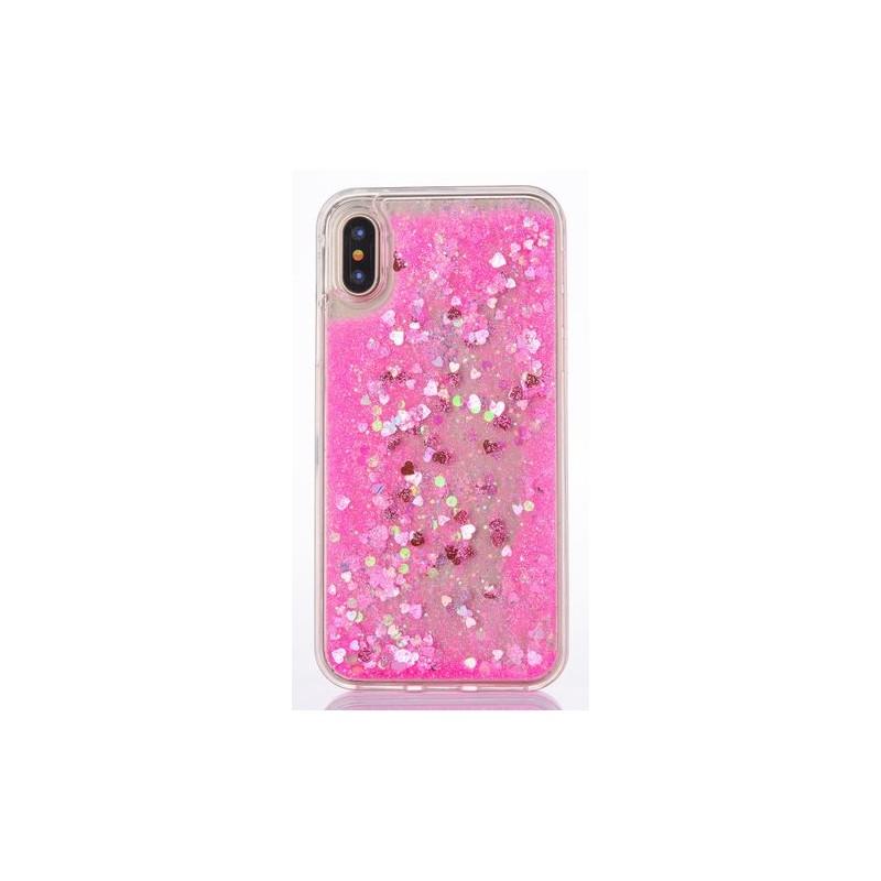 Apple iPhone X - Přesýpací silikonový zadní kryt telefonu - růžový ... 335e763e26e