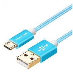 Voxlink pletený datový a napájecí kabel micro USB 2m - modrý