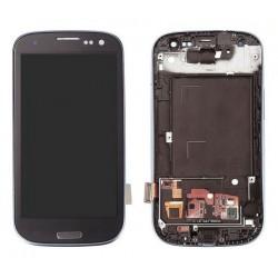 Samsung Galaxy S3 i9300 - niebieski - wyświetlacz LCD + panel dotykowy, szkło dotykowe, panel dotykowy z ramką