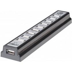 Manhattan 161572 - USB hub - rozbočovač, 10 portů, napájecí adaptér