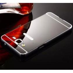 Samsung Galaxy J2 2015 - hliníkový, kovový, zrcadlový zadní kryt telefonu - černý