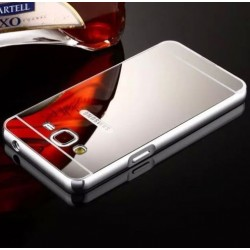 Samsung Galaxy J2 2015 - hliníkový, kovový, zrcadlový zadní kryt telefonu - stříbrný