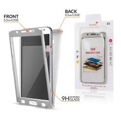 Samsung Galaxy S8 Plus - predný a zadný ochranný kryt s ochrannou fóliou - strieborný