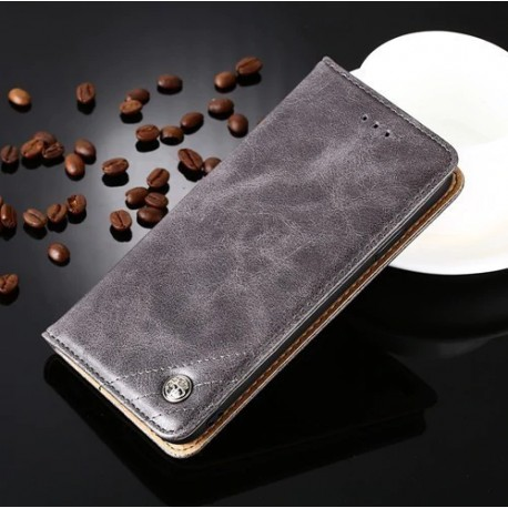 Huawei P9 - sivé PU kožené puzdro