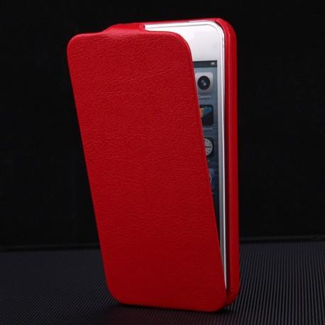 Apple iPhone 5 5S - Luxusní PU kůže - červené pouzdro