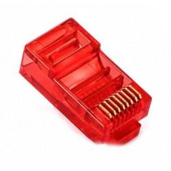 Konektor RJ45 - UTP CAT5 CAT5E 8P8C - univerzální červený