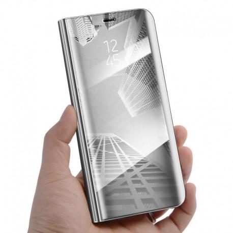 Huawei P20 - flipové zrkadlové puzdro - strieborné