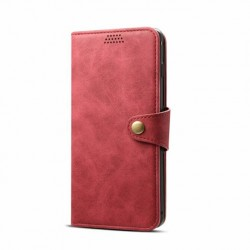 Lenuo Leather Flip Case for Samsung Galaxy J6 Plus - Red