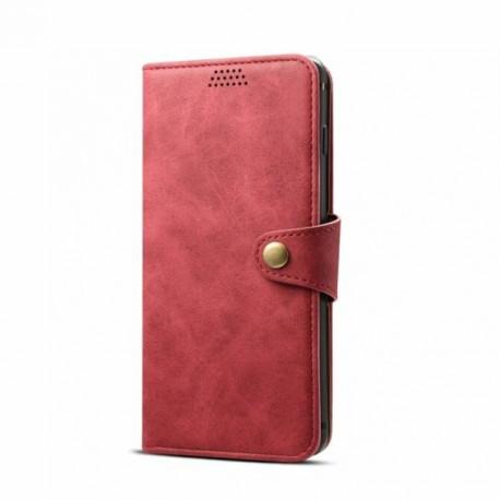 Lenuo kožené flipové puzdro pre Samsung Galaxy J6 Plus - červené