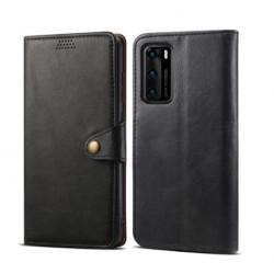 Skórzane etui z klapką Lenuo do Huawei P40, czarne