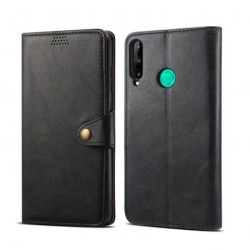Skórzane etui z klapką Lenuo do telefonu Huawei P40 Lite E, czarne