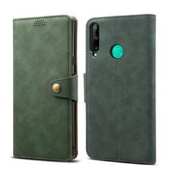 Skórzane etui z klapką Lenuo do telefonu Huawei P40 Lite E, zielone