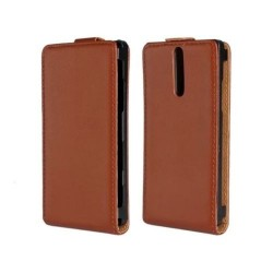 Sony Xperia S LT26i - Flip Vertical Pouch Wallet - Brown leather